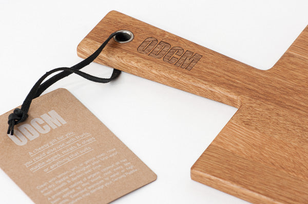 Custom branded Cheese Paddle No.1 with printed hangtag