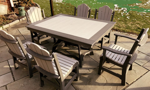 Rectangle Table Set for 6 - Dove Gray on Dark Gray