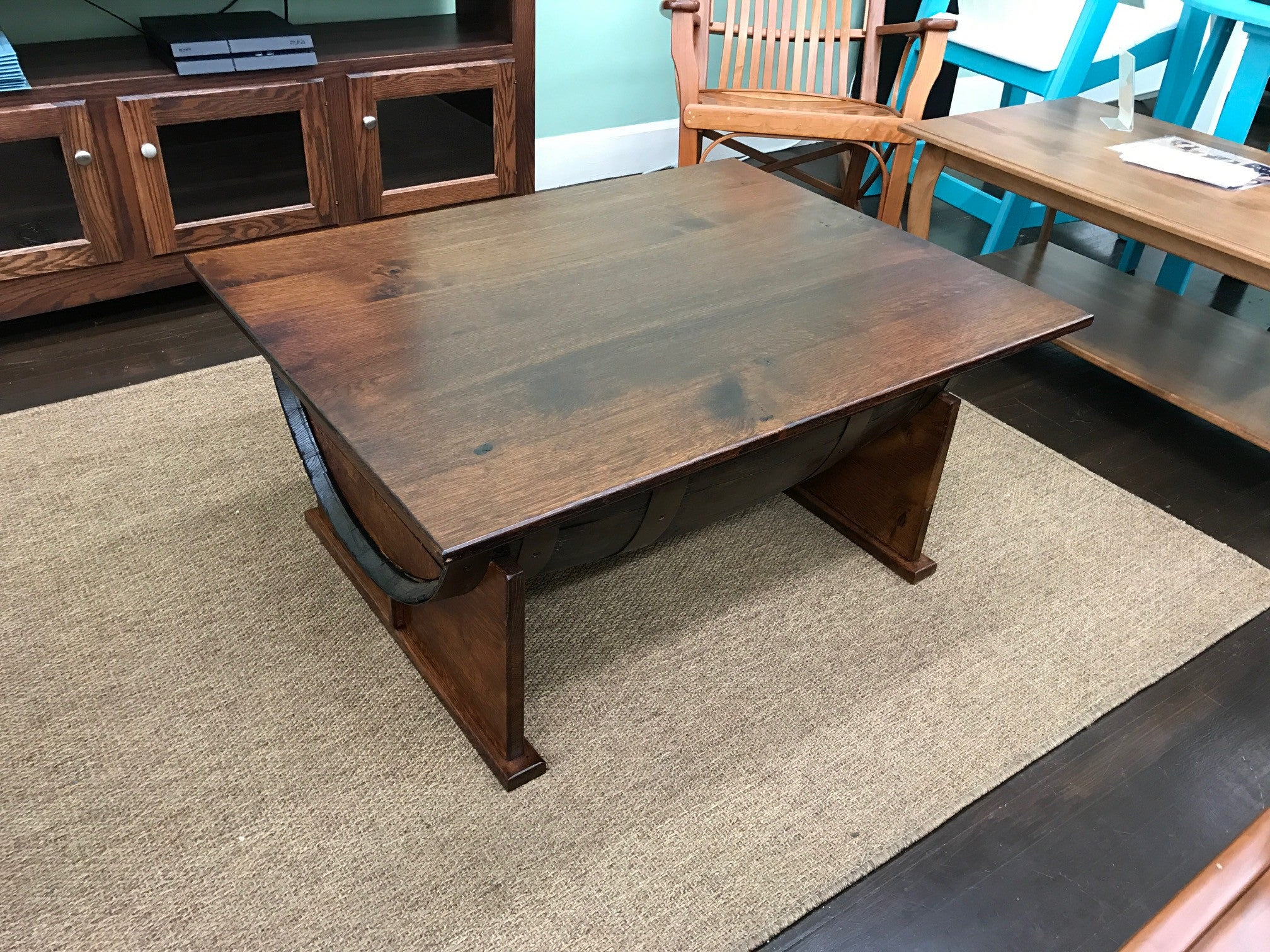 Delightful Half Barrel Coffee Table With Lift Top