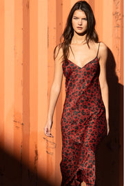 Burgundy Leopard Slip Dress - SERRANO