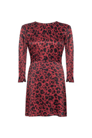 Burgundy Leopard Mini Dress - SERRANO