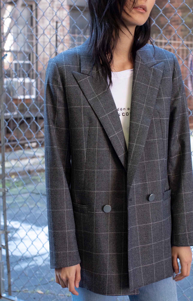 Checked Blazer in Italian Wool - SERRANO