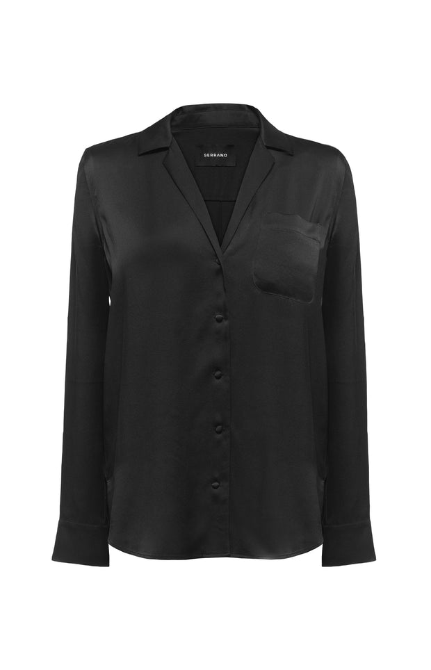 Carla Silk Shirt - Black - SERRANO