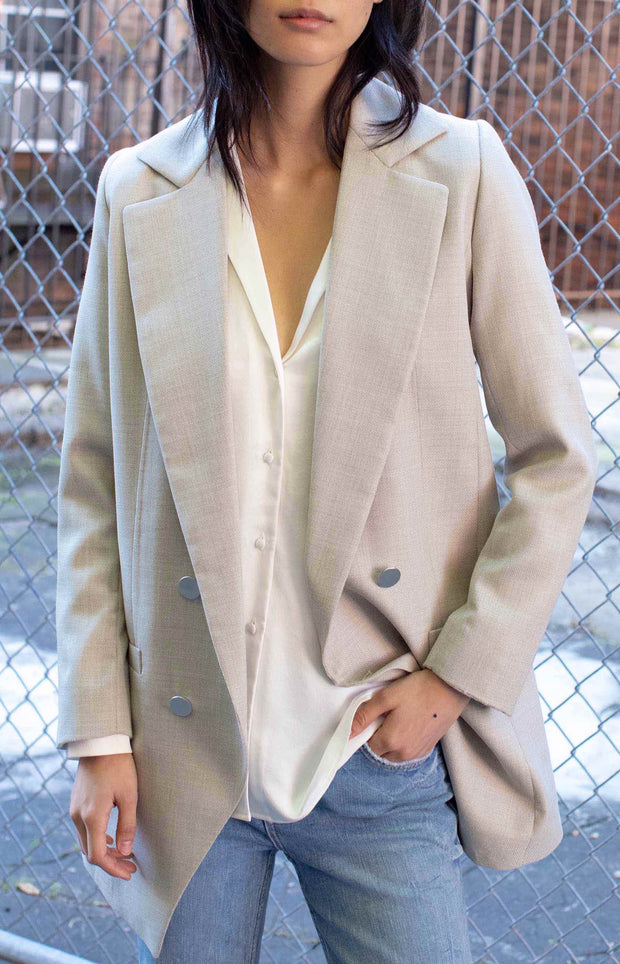 Wool Boyfriend Blazer - light beige - SERRANO