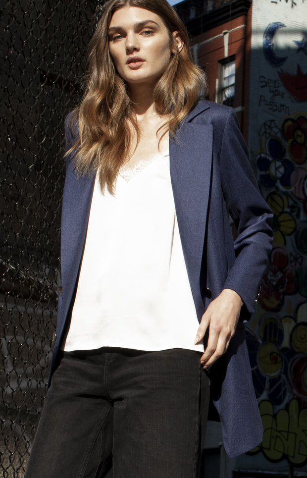 Wool Boyfriend Blazer - Blue
