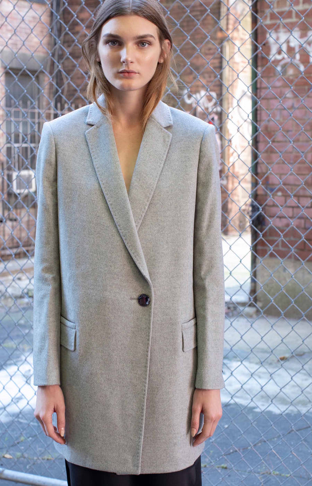 Light grey wool coat - SERRANO