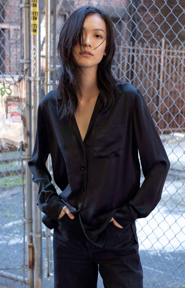 Black silk shirt - SERRANO