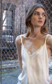 White silk top with lace - SERRANO