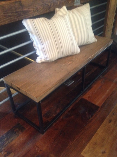 Reclaimed Wood & Metal Bench