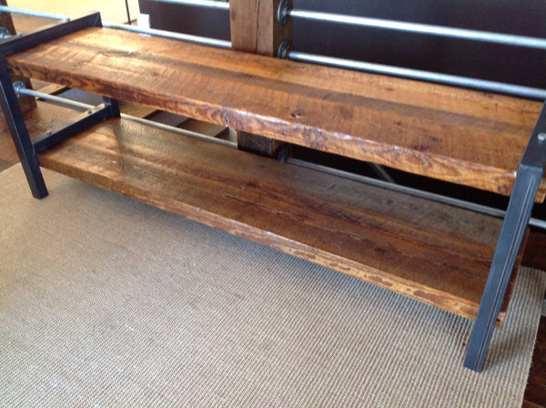 Completely new Reclaimed Wood & Metal Bench with Shelf – Spare Room EH82