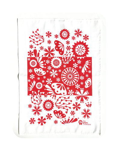 Red Flower Tea Towel by The Green Collective (50% Linen)