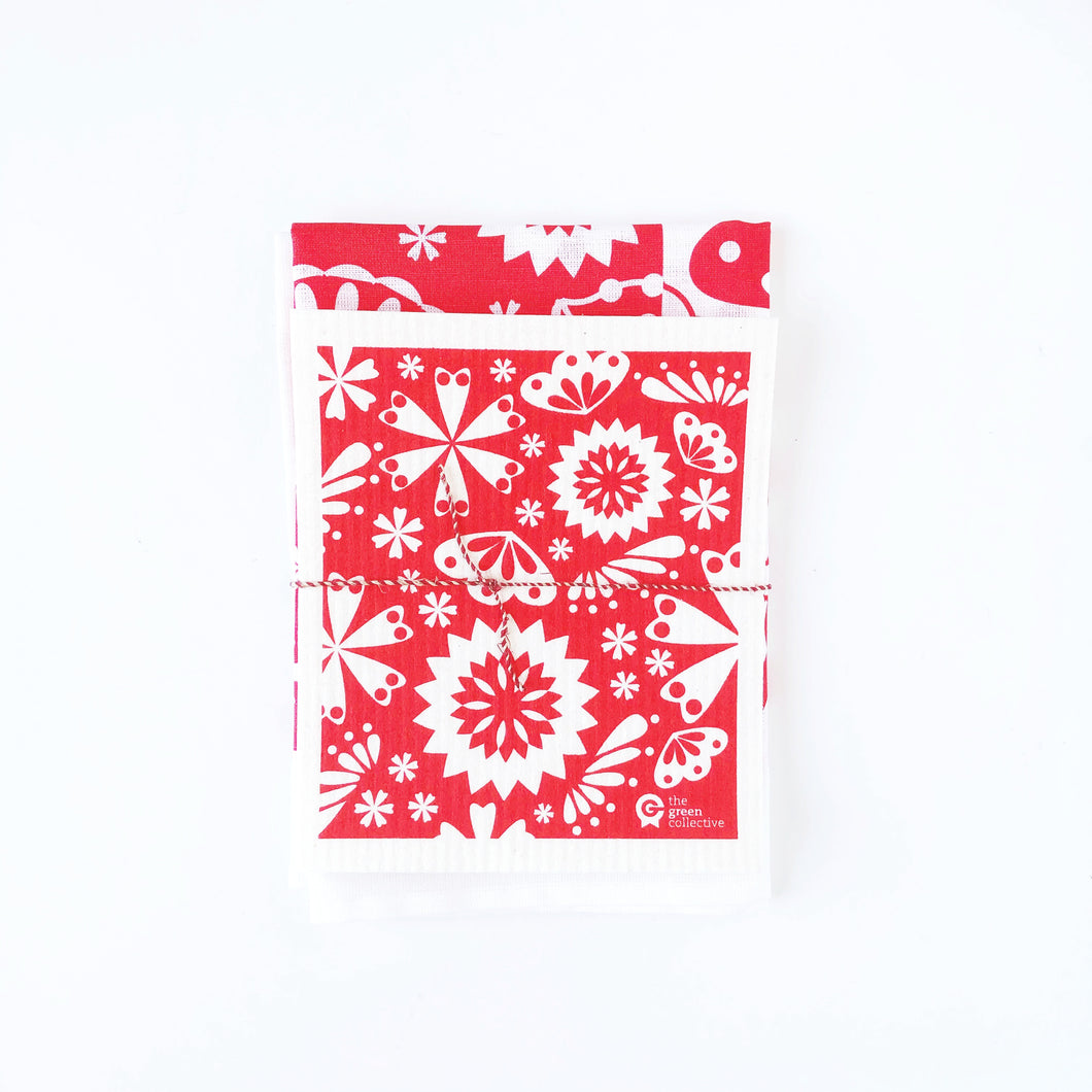 Red Flower SET (50% Linen)