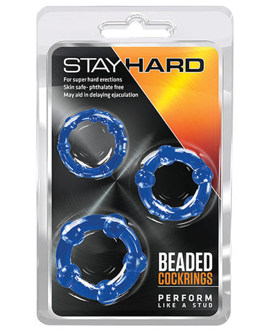 Blush Stay Hard Beaded Cock Rings - Blue Pack Of 3