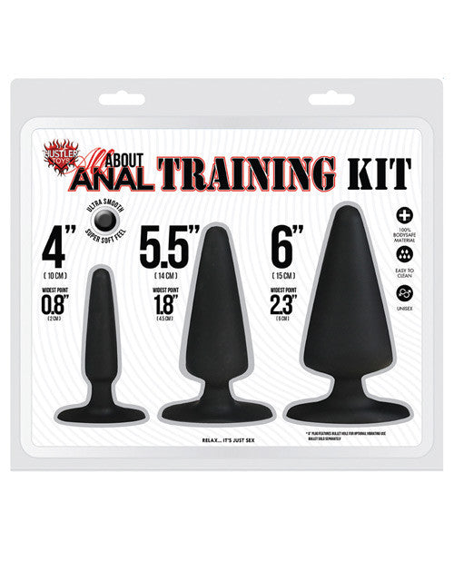 Hustler Toys All About Anal Seamless Silicone Anal Training Kit - Black