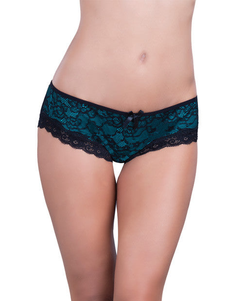 Cage Back Lace Panty Black-teal  S-m