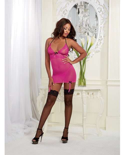 Stretch Mesh W-spandex Garter Slip W-back Ribbon Lace Up & Thong Magenta O-s