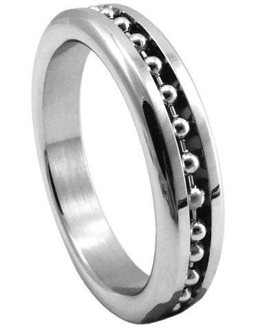 Premium Stainless Steel Cockring - Chrome W- Ball Chain 1.875""