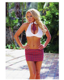 3 Pc Extra Credit School Girl Halter Top W-attached Tie, Skirt & Ruffled Panty O-s