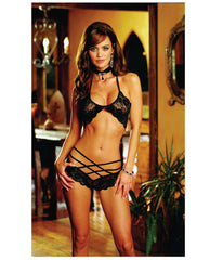Stretch Lace Bra W-strappy Shorts Black O-s