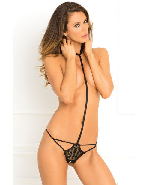 Rene Rofe Bedroom Ready Crotchless Teddy Black Ml