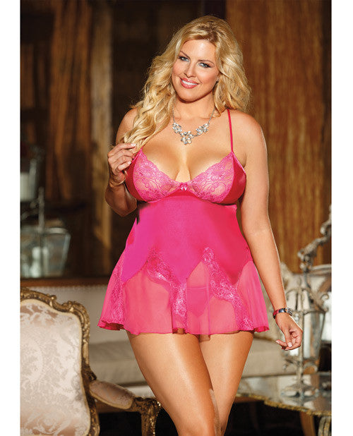 Charmeuse & Lace Chemise W-adjustable Straps & G-string Passion Pink 1x