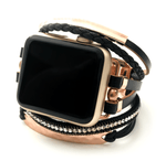 Strappy black faux leather apple watch band with rose gold hardware. Sold out, preorder available for next release. Choose Black/gold, black/rose gold or black/silver