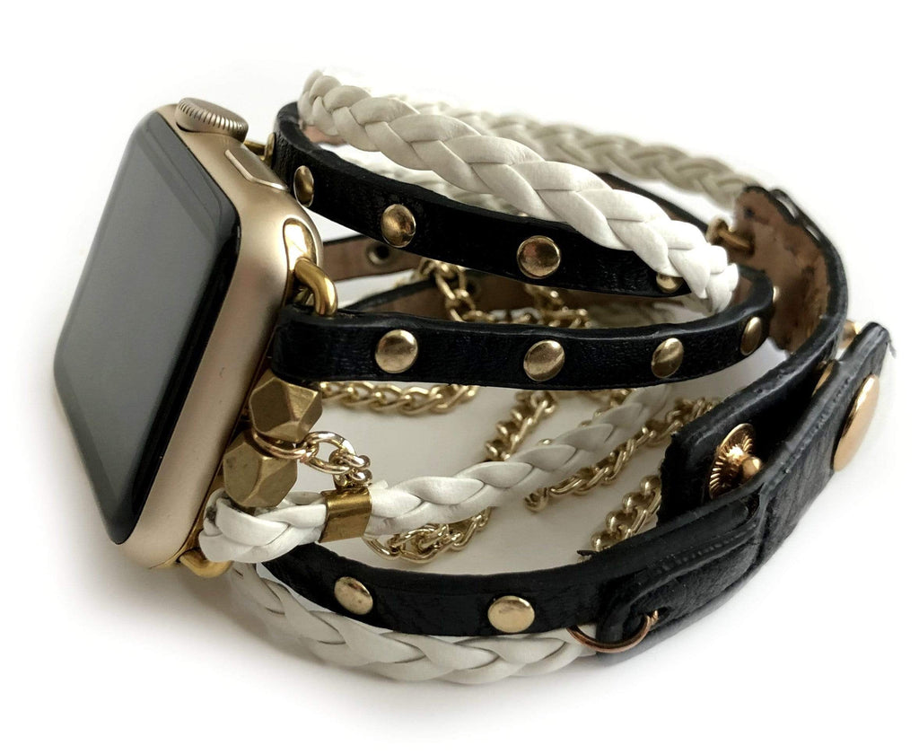 Boho Glam Black and White Apple Watch Band