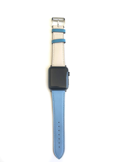 "Men's and Women's blue and cream genuine leather strap. One strap blue and one strap cream. Leather straps contains blue stitching around entire outer edge.  This Apple Watch Band fits all apple series watches sized 42/44mm.  Fits wrist sizes 6.5""-8"""
