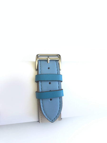 Men's Blue and Cream Leather Apple Watch Band