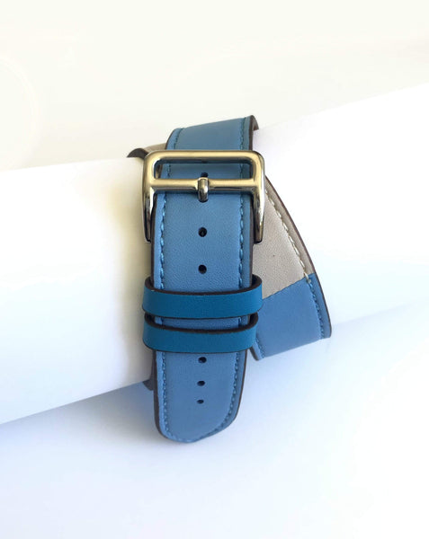 Men's Blue and Cream Leather Wrap Apple Watch Band
