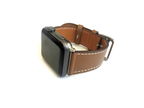"Men's and Women's brown genuine leather strap. Strap features white stitching around entire outer edge.  This Apple Watch Band fits all apple series watches sized 42/44mm.  Fits wrist sizes 6.5""-8"""