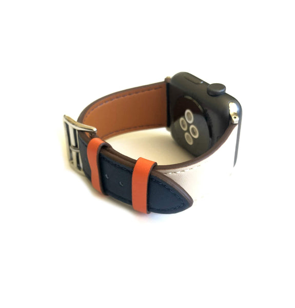 Men's Navy, Orange and Cream Leather Apple Watch Band