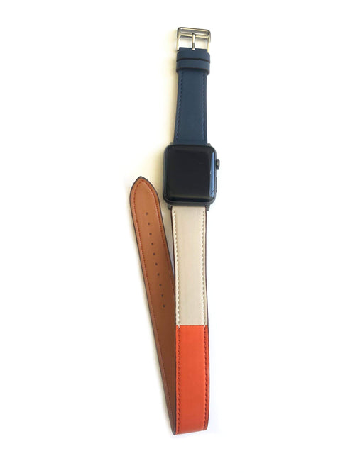 "Men's and Women's NAVY, ORANGE, AND CREAM genuine leather strap. Leather strap contains white stitching around entire outer edge. Strap is designed to wrap around the wrist twice creating a solid cuff look. This Apple Watch Band fits all apple series watches sized 42/44mm. Fits wrist sizes 6.5""-8"""