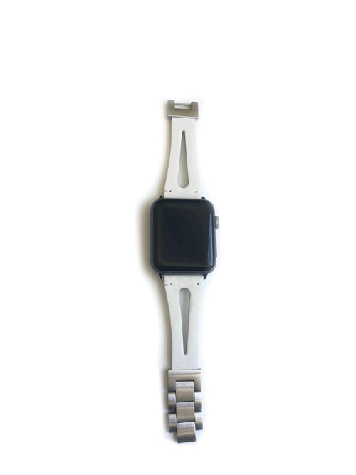 "This WHITE genuine leather strap was designed for men and women. This strap splits down the middle giving it the appearance of two straps. Dress this strap up or dress it down to fit your perfect look.  This Apple Watch Band fits all apple series watches sized 38/40 and 42/44mm.  Fits wrist sizes 5.5""-8""  features stainless steel adjustable connectors for true fit."