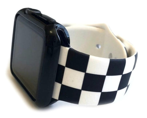 "This sporty black and white checkerboard silicone apple watch band is the must have band of the season! Looks great on men, women and children. Sizes: Small/Medium will fit wrist size 5""-7.5"" Medium/Large will fit wrist sizes 6""-8.25"""