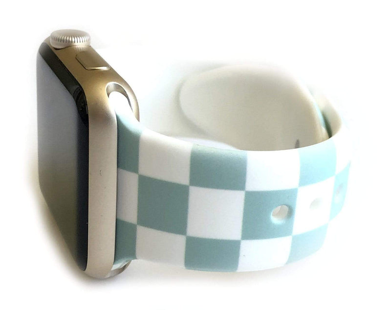 "This sporty light blue and white checkerboard silicone apple watch band is the must have band of the season! Looks great on men, women and children. Sizes: Small/Medium will fit wrist size 5""-7.5"" Medium/Large will fit wrist sizes 6""-8.25"""