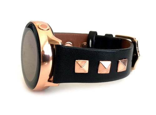 Beautiful black top grain genuine leather studded watch band. This watch band features a stainless steel buckle and is adorned with three metal studs on each side. Stud color choices include Silver, Gold, and Rose Gold. Studs are square shaped and slightly raised in the center giving them a pyramid shape. This watch band features a quick release spring bar and is a perfect fit for the Samsung watch.