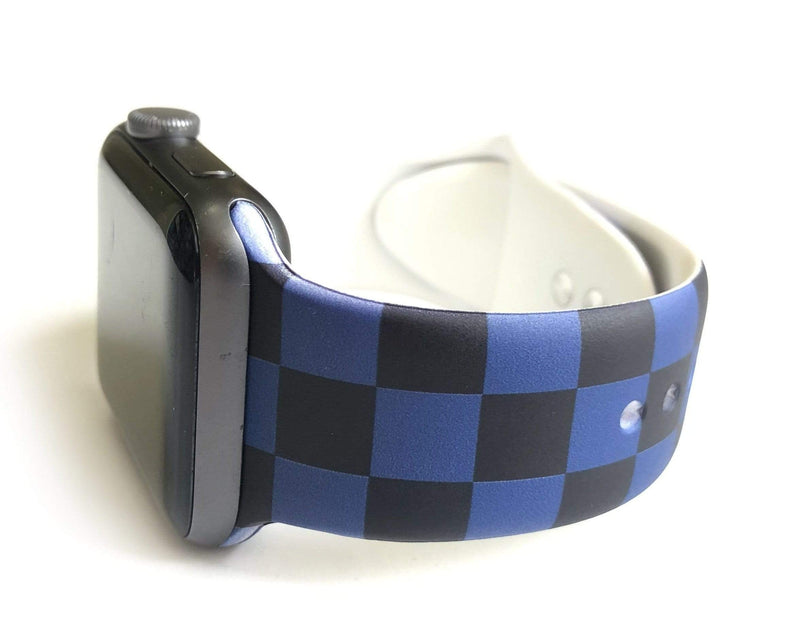 "This sporty black and blue checkerboard silicone apple watch band is the must have band of the season! Looks great on men, women and children. Sizes: Small/Medium will fit wrist size 5""-7.5"" Medium/Large will fit wrist sizes 6""-8.25"""