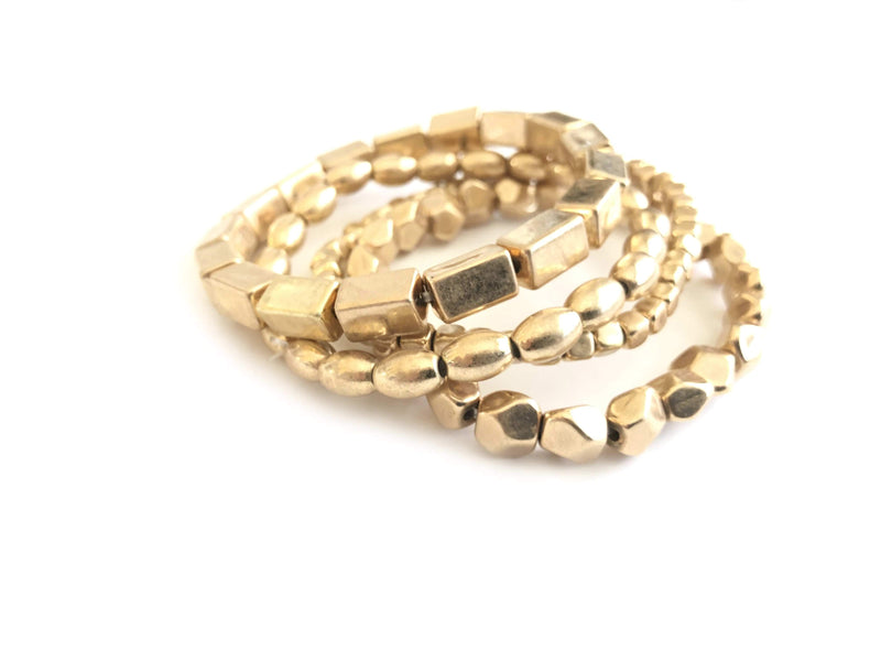 Chunky Gold beaded Stacking Bracelets