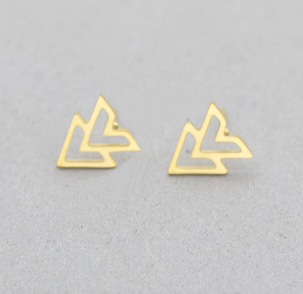 Gold Double Arrow Stud Earrings