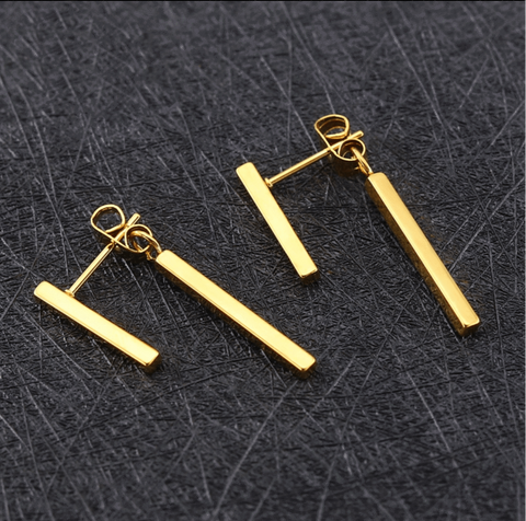 Gold Post Front Back Earrings
