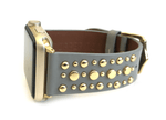 Beautiful GREY top grain genuine LEATHER, STUDDED Apple Watch Band. This watch band features a stainless steel buckle and is adorned with several flat circular studs. Stud color choices include Silver, Gold, and Rose Gold.  This watch band fits all series of Apple Watches. Comes in sizes 38/40 and 42/44