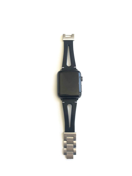 "This black genuine leather strap was designed for men and women. This strap splits down the middle giving it the appearance of two straps. Dress this strap up or dress it down to fit your perfect look.  This Apple Watch Band fits all apple series watches sized 38/40 and 42/44mm.  Fits wrist sizes 5.5""-8""  features stainless steel adjustable connectors for true fit."