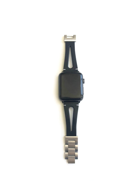 Men's Black Leather Double Strap Apple Watch Band
