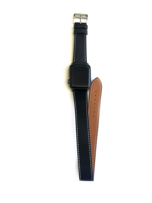 "Men's and Women's black genuine leather strap. Leather strap contains white stitching around entire outer edge. Strap is designed to wrap around the wrist twice creating a solid cuff look.  This Apple Watch Band fits all apple series watches sized 42/44mm.  Fits wrist sizes 6.5""-8"""