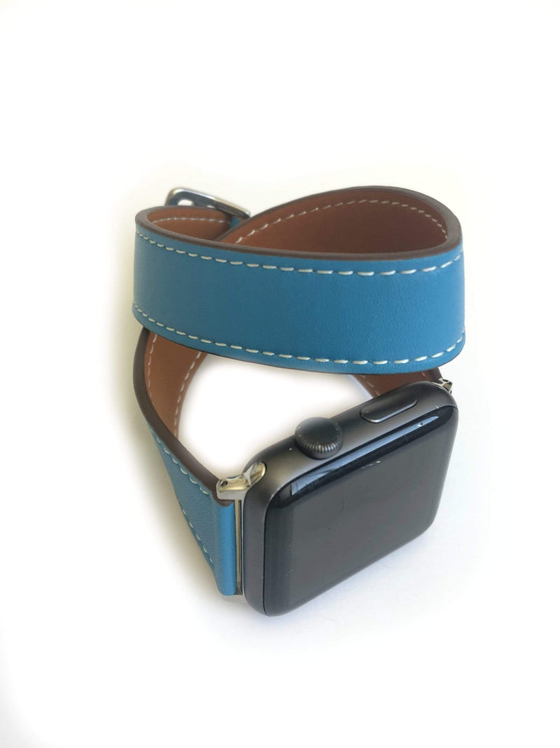 Men's Blue Leather Wrap Strap Apple Watch Band