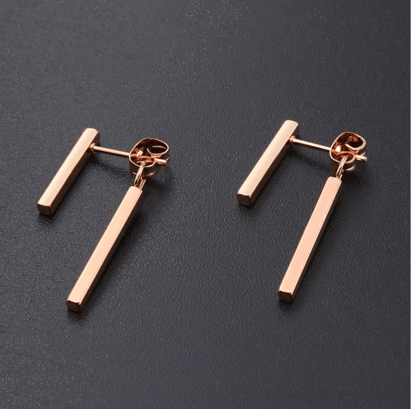 Rose Gold Post Front Back Earrings