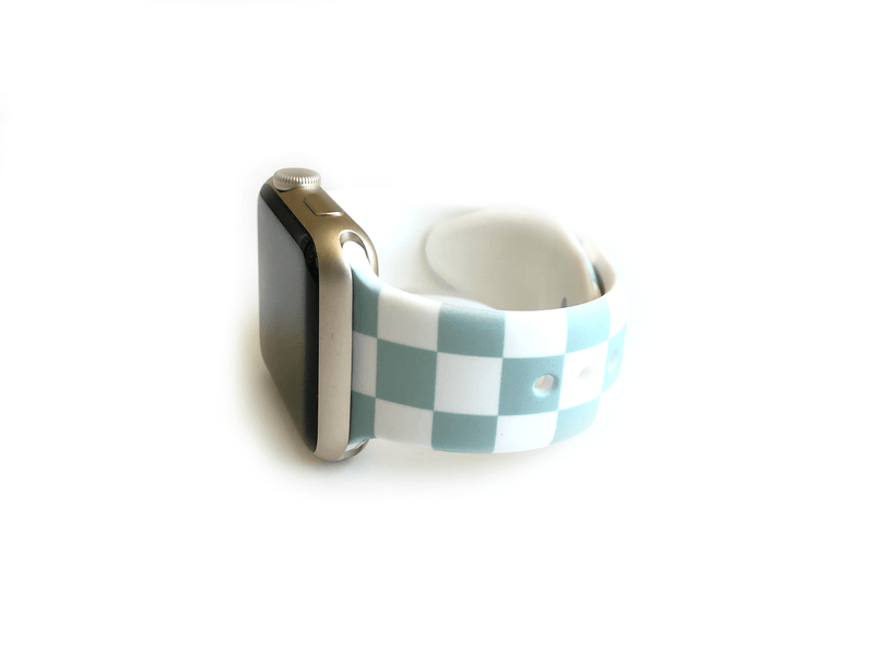 Mint and white checkered or checkerboard style apple watch band size small medium band for apple watches size 38mm and 40mm.