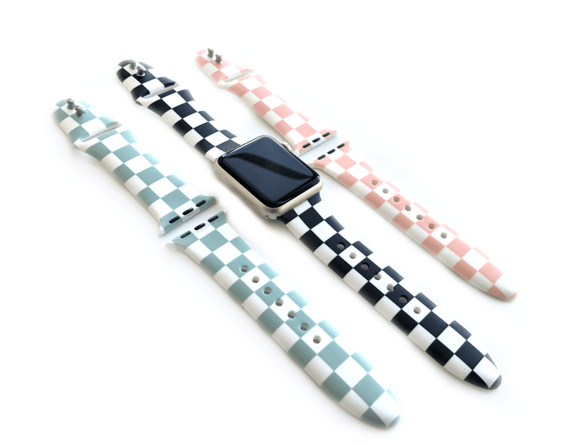 3 pack checkerboard style silicone apple watch band in size 38mm 40mm small to medium size band. Colors of 3 pack are black and white checker, pink and white checker, and mint green and white checker