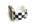 Black and white checkered or checkerboard style apple watch band size small medium band for apple watches size 38mm and 40mm.